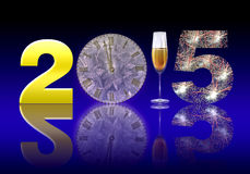 New Year 2015. Greeting New year card in 2015. Setting New Year 2015 golden number 2, table clock, a glass of champagne and the number 5 Create a fireworks only Royalty Free Stock Images