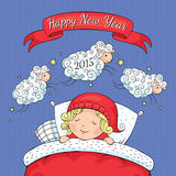 New year greeting card. With sheep and child vector illustration Stock Photography