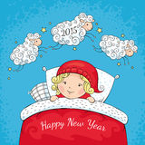 New year greeting card. With sheep and child vector illustration Stock Photos