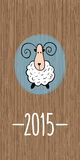 New Year greeting card with sheep. Chinese symbol of 2015 year - and wooden background Stock Photo