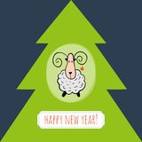 New Year greeting card. With sheep and fir royalty free illustration