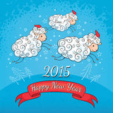 New year greeting card. With sheep vector illustration Royalty Free Stock Photos