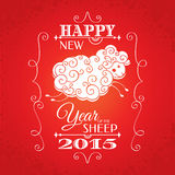 New year greeting card. With sheep vector illustration Stock Images