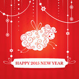 New year greeting card. With sheep vector illustration Stock Photos