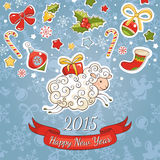 New year greeting card with sheep. Vector illustration Royalty Free Stock Images