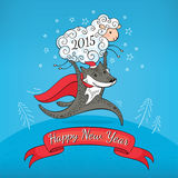 New year greeting card. With sheep and wolf vector illustration Royalty Free Stock Photo