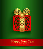 New Year greeting card with silhouette of Christmas present Stock Photography