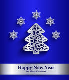 New Year greeting card with silver silhouette of Christmas tree Royalty Free Stock Photos