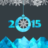 New Year greeting card with snowflakes. Illustration Royalty Free Stock Photos