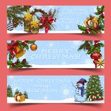 2018 new year greeting card with snowflakes. New 2018 year card with snowman near fir tree and snowflakes with gift boxes on sledges, fir tree decorations like Stock Photo