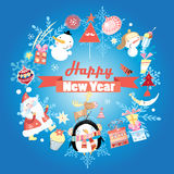 New year greeting card with snowman Stock Photo