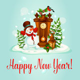 New Year greeting card with snowman and clock Stock Image