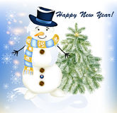 New year greeting card with snowman and fir tree Stock Image