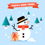 New Year greeting card with snowman. And trees on a back. Vector flat illustration stock illustration