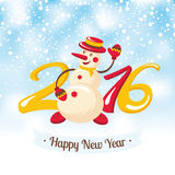 New Year greeting card with snowman Stock Image