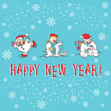 New Year greeting card. Snowman Stock Images