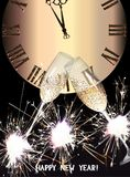 New year greeting card with sparklers and watch. Vector illustration Stock Images