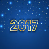 2017 New Year greeting card with stars and spot lights on blue. Background sample Stock Images