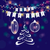 2017 new year greeting card. With stylized Christmas tree, garland, balls. Vector illustration, eps 10 Vector Illustration