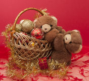 New Year greeting card with teddy bear . Stock Photography