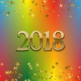 2018 New Year greeting card template on colorful blended background with glittering stars.  Royalty Free Stock Image