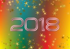 2018 New Year greeting card template on colorful blended background with glittering stars.  Stock Photos