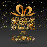 New Year  greeting card template. Gift box with 3d gold stars, snowflakes and bow ribbon. Stock Photo
