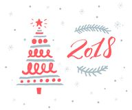2018 new year greeting card template with red numbers and hand drawn Christmas tree Stock Images
