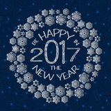 New Year greeting card with text be happy in the new year 2017 and snowflakes Royalty Free Stock Image