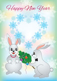 New Year greeting card with a two rabbit Stock Photo