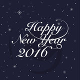 New year 2016 Greeting Card. Typography postcard template. Vecto Stock Image