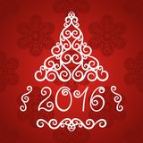 New Year 2016 greeting card. Vector background with christmas decoration Stock Photos