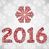 New Year 2016 greeting card. Vector background with christmas decoration Stock Image