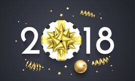 2018 New Year greeting card vector golden decoration gift New Year background Stock Image