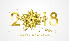 2018 New Year greeting card vector golden decoration gift New Year background Stock Photos
