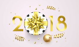 2018 New Year greeting card vector golden decoration gift New Year background Stock Photo
