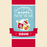 New Year greeting card. Vector illustration Royalty Free Stock Photo