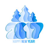 New Year 2017 greeting card. Vector illustration. Blue numbers and christmas tree on white background Stock Image