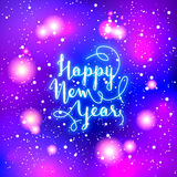 New Year greeting card. Vector illustration. Blurred background. Stock Photography