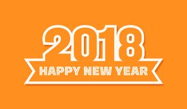 2018 New Year greeting card vector illustration in orange background Stock Photo
