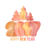 New Year 2017 greeting card. Vector illustration. Orange, yellow, pink numbers and shristmas tree on white background Royalty Free Stock Images