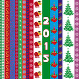 New Year 2015 greeting card with vertical strips. New Year 2015 vector composition with sheep on vertical strip and several ornamental strips with New Year stock illustration