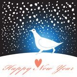 New year greeting card with a white bird Royalty Free Stock Photography