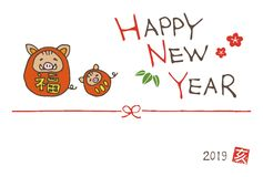 New year greeting card with wild boars wearing tumbling doll cos vector illustration
