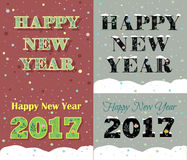 New Year greeting cards. Artistic floral font. Stock Photos