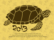New Year greeting cards decorated with Oriental a Turtles. New Y Royalty Free Stock Photography