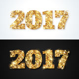 New Year 2017 Greeting Cards with Gold Numbers Stock Photos