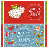 New year greeting cards. With sheep and decoration elements vector illustration Stock Image
