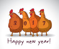 New year greeting chicken card with sign. Stock Photos