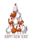 New year greeting chicken card with tree. Royalty Free Stock Photos